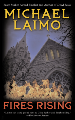 book cover showing a church on fire