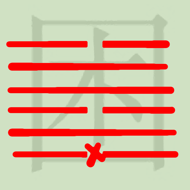 Hexagram of water under lake with a line change in the first line