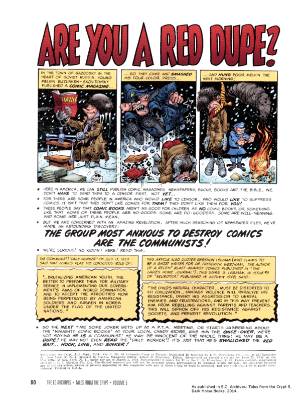 Full page ad explaining only communists are out to destroy comics...and dupes...