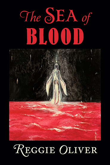 Cover of book depicting skeletal woman in white walking across a sea of blood