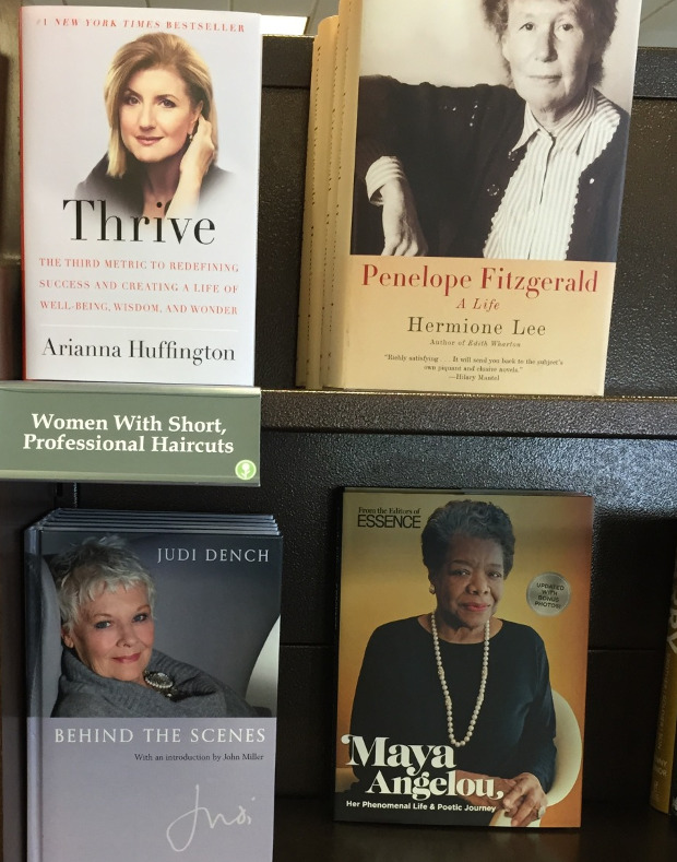 bookstore display with books featuring professional women