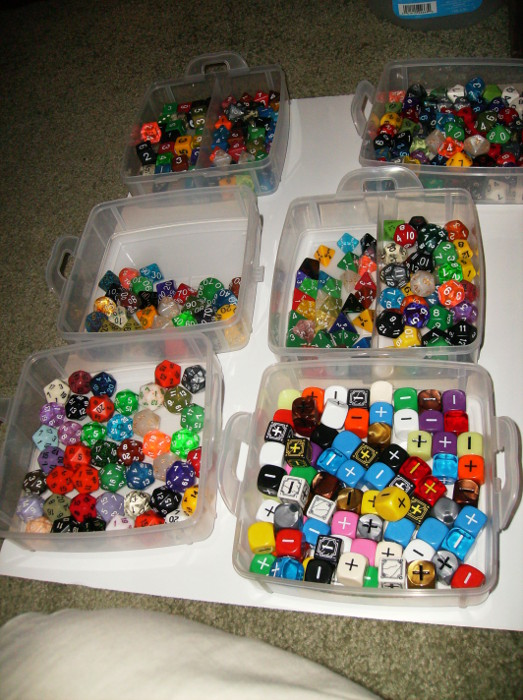 Dice stored in a dice box