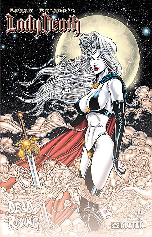 Lady Death Comic, large-breasted pale woman with sword in front of her