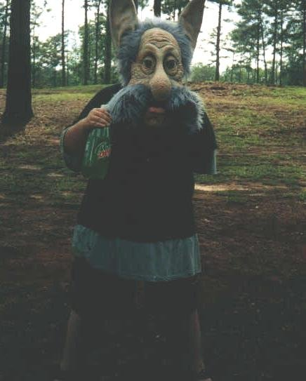 Doug wearing a gnome Halloween Mask