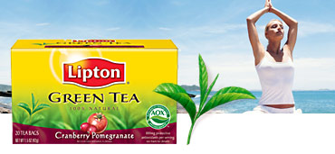 tea package in front of a beach scene