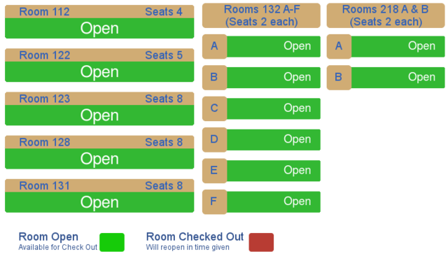 Study room availability. If you are having trouble viewing image, you can see the feed towards bottom of this page.